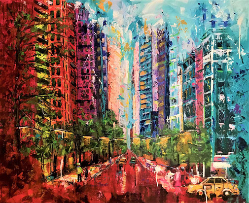 City, Skyline, Acryl, New York