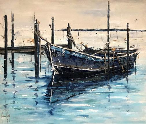 Acryl, Wasser, Boot, Ruhe, Geborgenheit