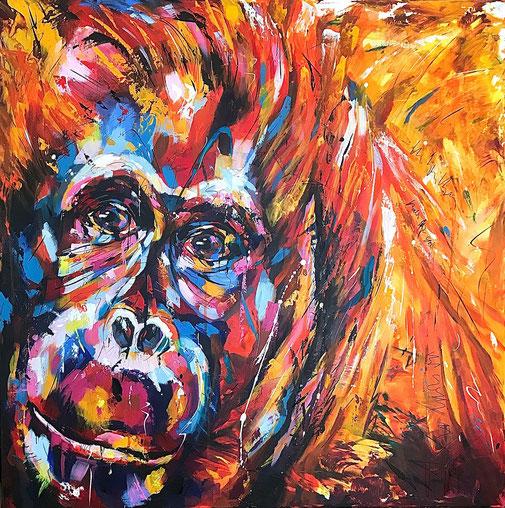 Gorilla, Tierporträt, Acrylbild, Original, Tierscgutz, Artenschutz