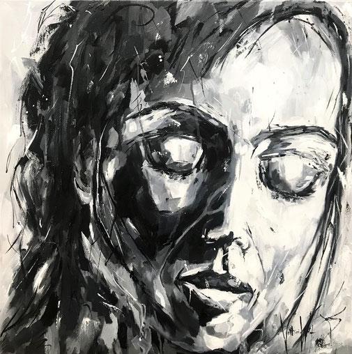Frauenporträt, schwarz-weiß, Öl, Original