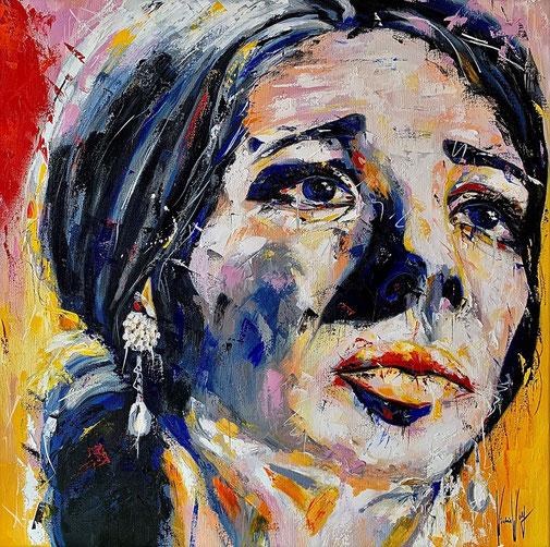 Ölpoträt, Diva. Frauenporträt, Expressionismus