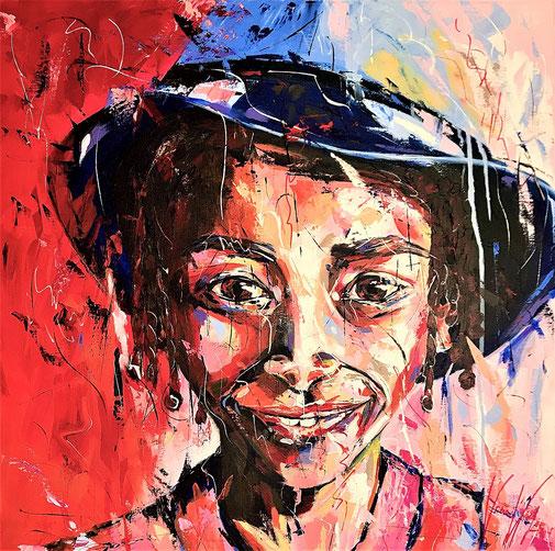Porträt, Kinderproträt, Expressionismus, Acryl