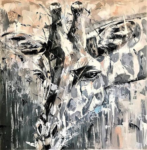 Tier, Tierporträt, Gewaltfrei, Giraffe