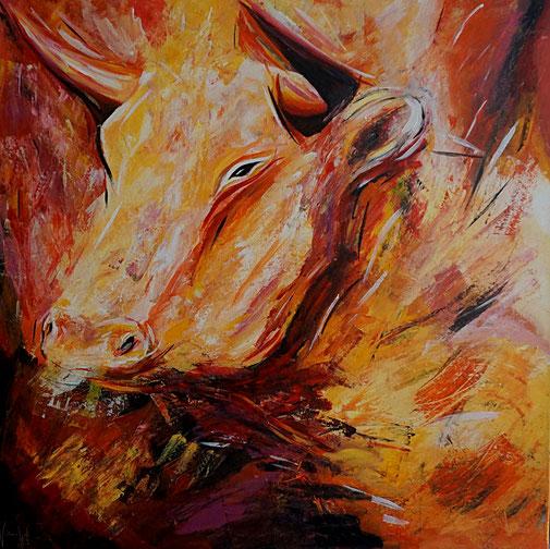 Moderne Malerei, handgemalt, Tiere, Schönheit,  Acryl, Gegenständlich