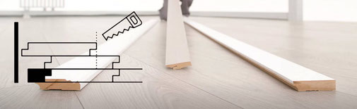Aanwijzing van De Laminaat Expert hoe je de breedte afmeting van de laatste laminaat plank bepaalt bij laminaat zelf leggen.