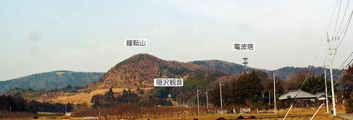 写真A  今回は、愛宕山の南の端にある 隠沢観音-鐘転山-山根池 のコースです。