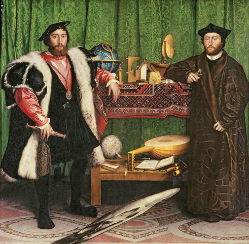 « Les Ambassadeurs » est un double portrait grandeur nature réalisé en 1533 par Hans Holbein le Jeune, alors peintre à la cour d'Angleterre. L'œuvre est conservée à la National Gallery, à Londres. Pour un décryptage de cette oeuvre cliquez sur la photo.