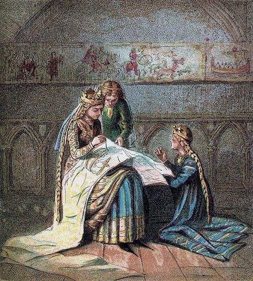 Mathilda stickt den Bayeux Teppich