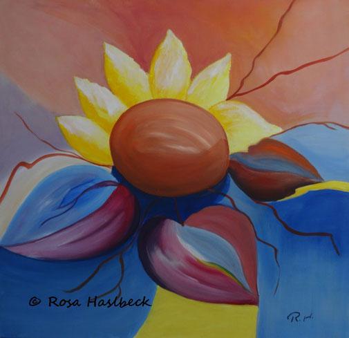 sonnenblume, blume, abstrakt, bild, kunst, malen