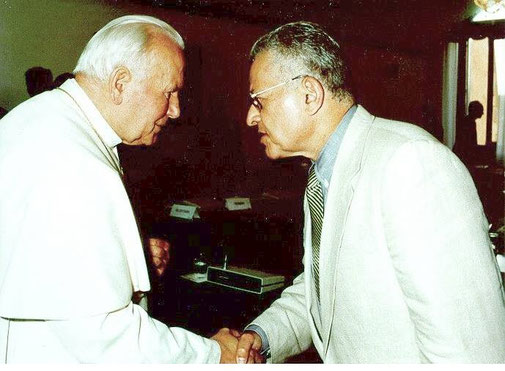With Pope John Paul II during a conference sponsored by the Vatican.