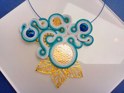 Soutache Statementkette Breath of Winter, designt by Kinari, Schmuck, Halskette, handgemacht