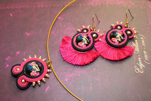 Soutache Schmuck Ohrringe & Kette Leilani - by Kinari Handmade Jewellery