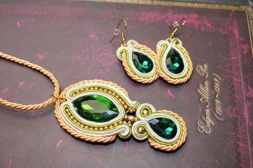 Soutache Set Ohrringe & Kette Khadira by Kinari Handmade Jewellery, Statementschmuck, Designer