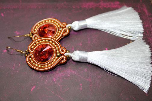 Soutache-Ohrringe mit Swarovski Valentina by Kinari Handmade Jewellery