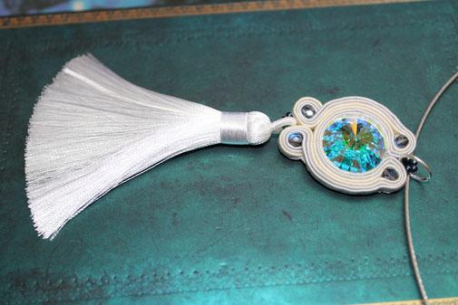 Soutache-Halskette mit Swarvoski Florentine by Kinari Handmade Jewellery