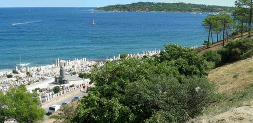 Blick auf den Friedhof von Saint Tropez