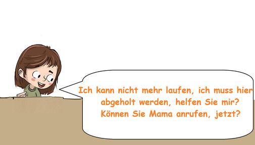 Ein kleines Mädchen mit Sprechblase bittet jemanden, ihre Mama anzurufen.