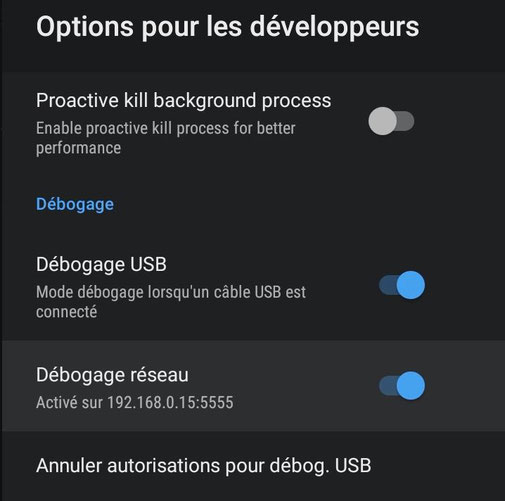 nvidia Shield options développeur débogage