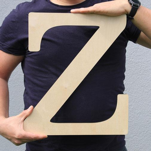 Zweischnitt - Buchstaben aus Holz 40cm