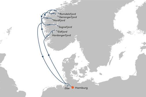 Unsere Route auf der Reise Nr. EUX2032