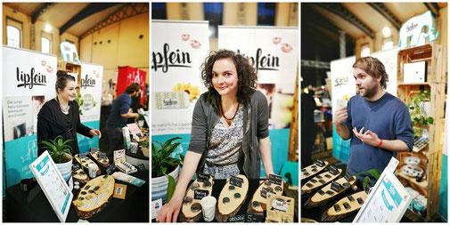 lipfein Marktstand - Verkauf von Lippenbalsam und Lippenpeeling auf einem Markt.