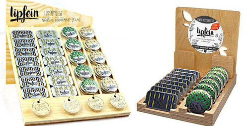 Holzaufsteller für die natürliche & vegane Lippenpflege von lipfein.