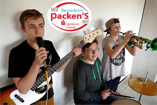 Hier ein Bild der Beilroder Schülerband mit (von links) Florian Stieber, Niklas Kühn und Madlin Fürch. Bei der Aufnahme war Robin Hoffmann, der auch dazugehört, wegen Krankheit nicht anwesend. Foto: privat
