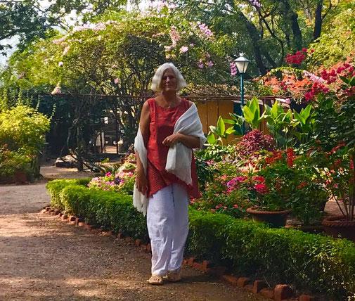 2020 : Lisa in the Meherazad Garden. Photo taken by Mark Trichka