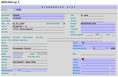 abasoft EVA Praxissoftware Arztsoftware Anderer Rechnungsempfänger