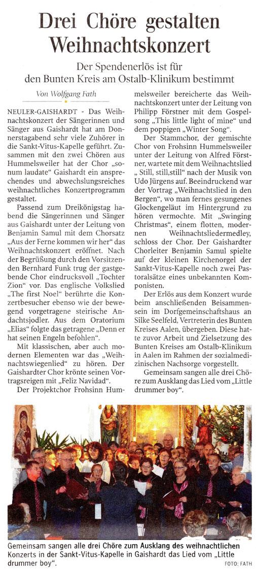 Bericht der Ipf- und Jagstzeitung vom 7. Januar 2017