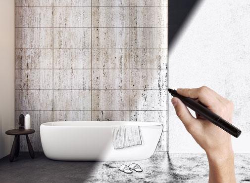 Skizziertes Badezimmer und umgesetzte Arbeiten im Badezimmer überlappen sich.