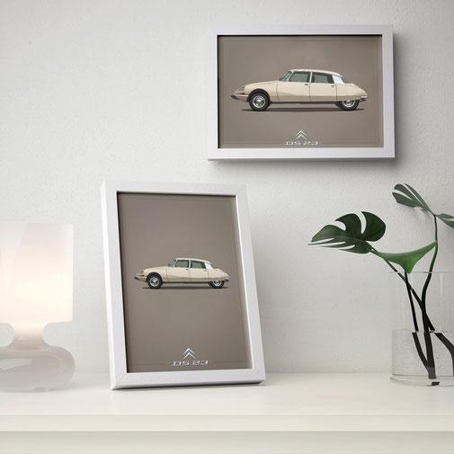 Citroen DS Renault Mercedes Porsche Peugeot poster carposter framed picture illustration graphic ilustracija grafika katrca classic cars