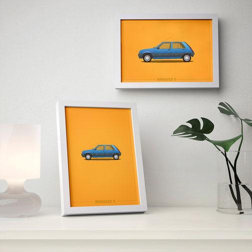 Renault Mercedes Porsche Peugeot poster carposter framed picture illustration graphic ilustracija grafika katrca classic cars