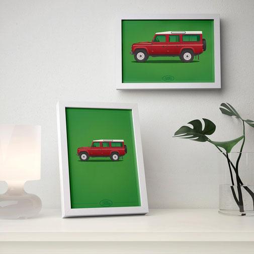 Renault Mercedes Porsche Peugeot poster carposter framed picture defender jeep land rover illustration graphic ilustracija grafika katrca classic cars