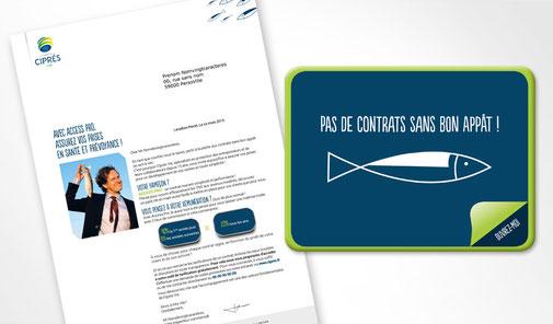 LSZ Communication - Graphiste - Directrice artistique freelance Nantes - #lepetitoiseaudelacom - Ciprés Vie - Grossiste assurance - Mailing - Lettre - conserve sardines chocolat - Agence Caribou