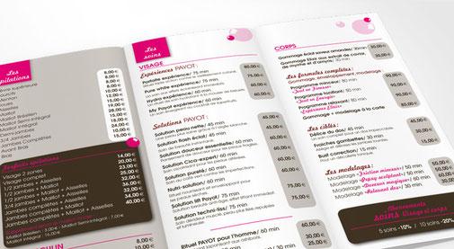 LSZ Communication - Graphiste - Directrice artistique freelance Nantes - #lepetitoiseaudelacom - MADEMOISELLE BULLE - ESTHETICIENNE - Institut de beauté - SAINT AIGNAN DE GRAND LIEU - Dépliant - Plaquette tarifs