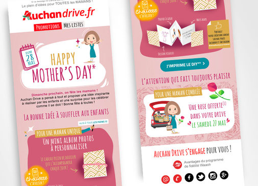 LSZ Communication - Graphiste - Directrice artistique freelance Nantes - #lepetitoiseaudelacom - Auchan Drive - Emailing - Fêtes des mères - Agence Caribou