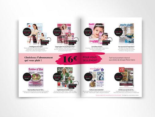 LSZ Communication - Graphiste - Directrice artistique freelance Nantes - #lepetitoiseaudelacom - Marie Claire - Abonnement magazines - Encart - Multi titres - Dépliant - Encart - Agence By M