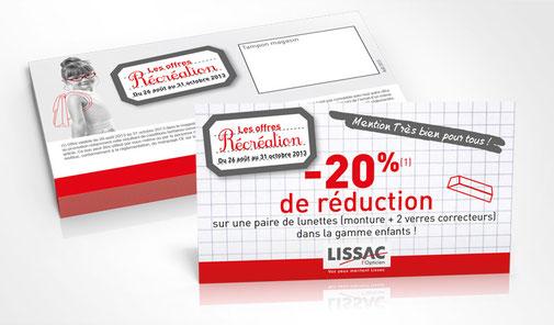 LSZ Communication - Graphiste - Directrice artistique freelance Nantes - #lepetitoiseaudelacom - Lissac - Optique -  Animation les loustics - Coupon réduction - Trafic magasins - Agence caribou