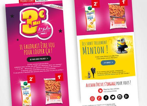 LSZ Communication - Graphiste - Directrice artistique freelance Nantes - #lepetitoiseaudelacom - Auchan Drive - Emailing - Gif animé - La folie des petits prix - Agence Caribou