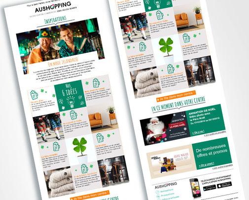 LSZ Communication - Graphiste - Directrice artistique freelance Nantes - #lepetitoiseaudelacom - AUSHOPPING - Newsletter - Emailing - Inspirations - Agence caribou