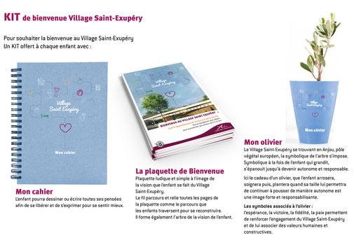 LSZ Communication - Graphiste - Directrice artistique freelance Nantes - #lepetitoiseaudelacom - CG49 - VILLAGE SAINT EXUPERY - Kit de bienvenue- animation centre bienvenue - Agence Médiapilote Angers