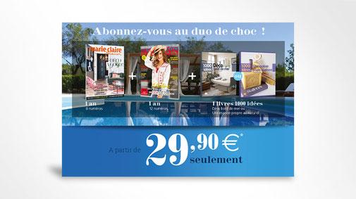 LSZ Communication - Graphiste - Directrice artistique freelance Nantes - #lepetitoiseaudelacom - Marie Claire Maison - Avantage - Abonnement magazines - Encart - Dépliant - Agence BY M