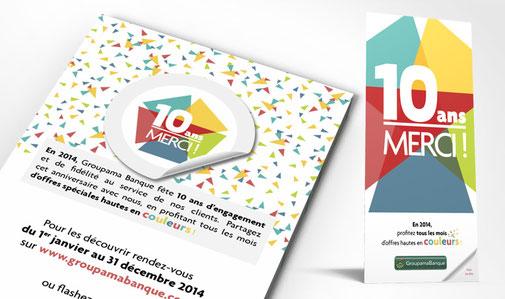 LSZ Communication - Graphiste - Directrice artistique freelance Nantes - #lepetitoiseaudelacom - Groupama - Banque - Assurance - Anniversaire 10 ans - Flyer - Agence Caribou