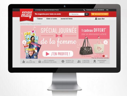 LSZ Communication - Graphiste - Directrice artistique freelance Nantes - #lepetitoiseaudelacom - Kiosquemag - Abonnement magazines - Journée de la femme - Bannière - Agence BY M