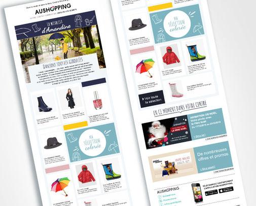 LSZ Communication - Graphiste - Directrice artistique freelance Nantes - #lepetitoiseaudelacom - AUSHOPPING - Newsletter - Emailing - Wishlist - Agence caribou