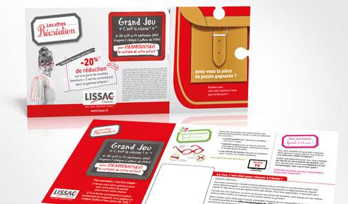 LSZ Communication - Graphiste - Directrice artistique freelance Nantes - #lepetitoiseaudelacom - Lissac - Optique -  Animation les loustics - Mailing puzzle - Trafic magasins - Agence caribou