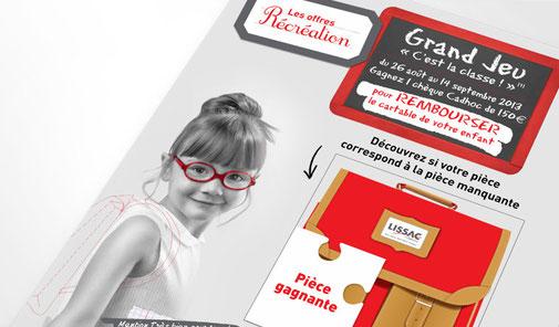 LSZ Communication - Graphiste - Directrice artistique freelance Nantes - #lepetitoiseaudelacom - Lissac - Optique -  Animation les loustics - Affiche puzzle - Trafic magasins - Agence caribou