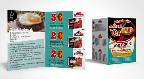 LSZ Communication - Graphiste - Directrice artistique freelance Nantes - #lepetitoiseaudelacom - Charal - Alimentaire - Leaflet recette - Coupon réduction - Steak d'or - Agence Madame Columbo