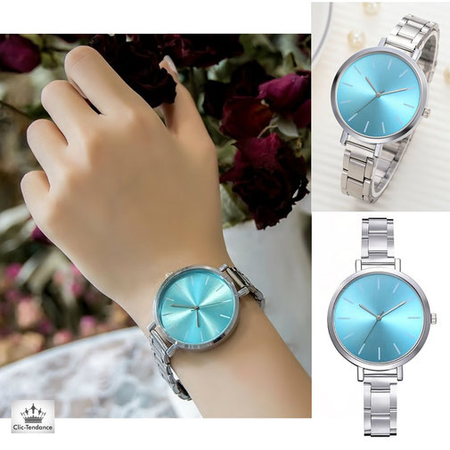 montre femme Tendance cadran beleu ciel original bracelet en acier inox chrome montre de marque pas chere